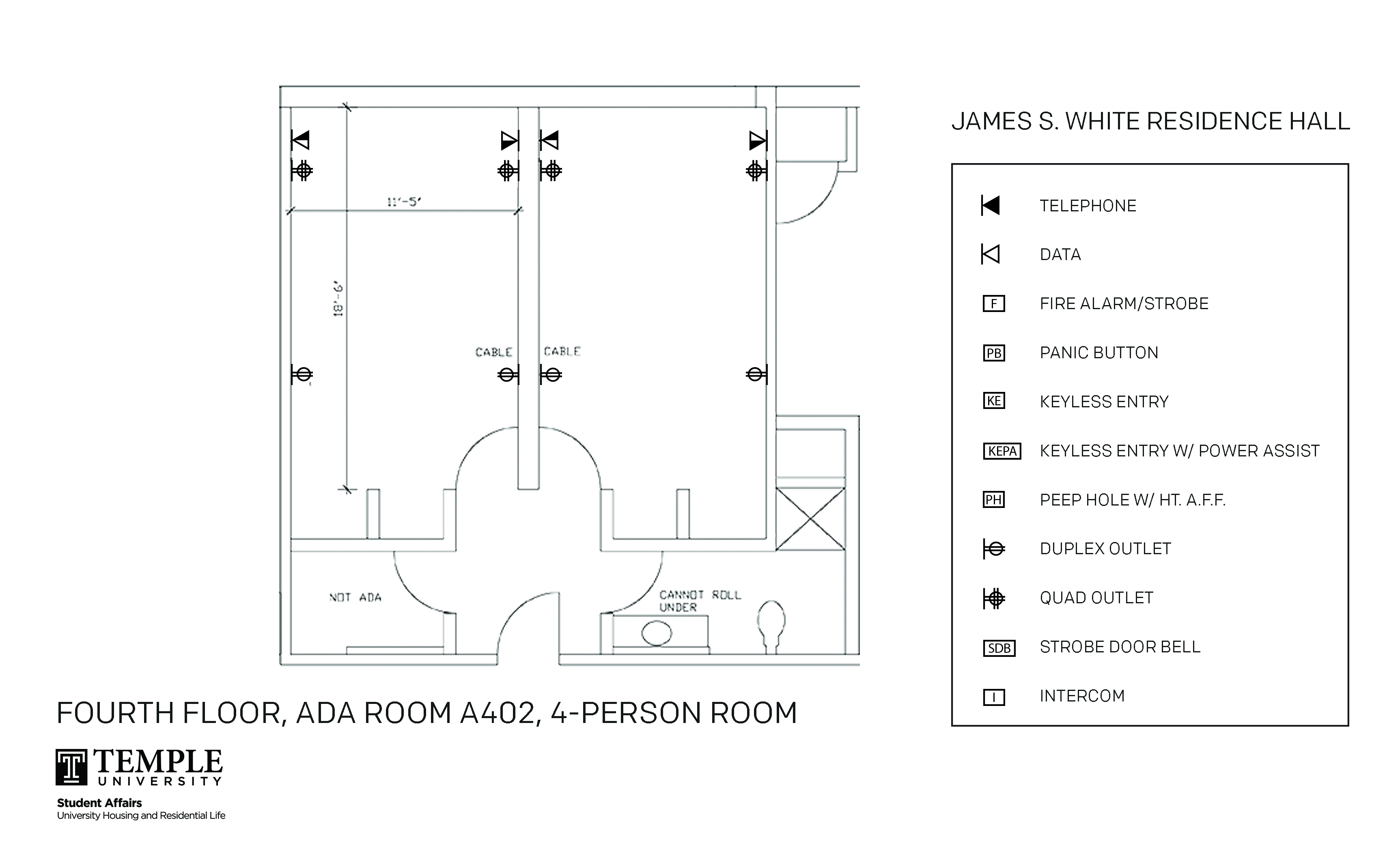 Accessible Room Diagrams:  4 person, 2 bedroom Suite - A402