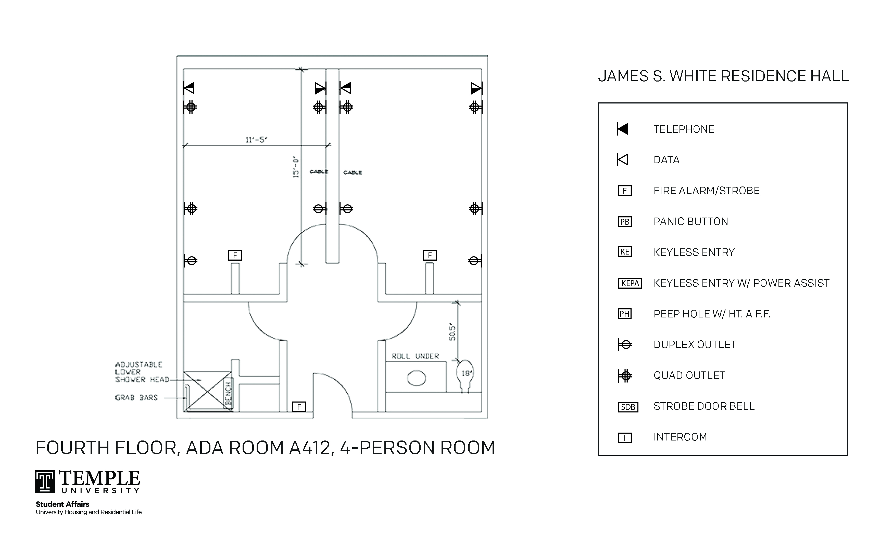 Accessible Room Diagrams: 4 person, 2 bedroom Suite - A412
