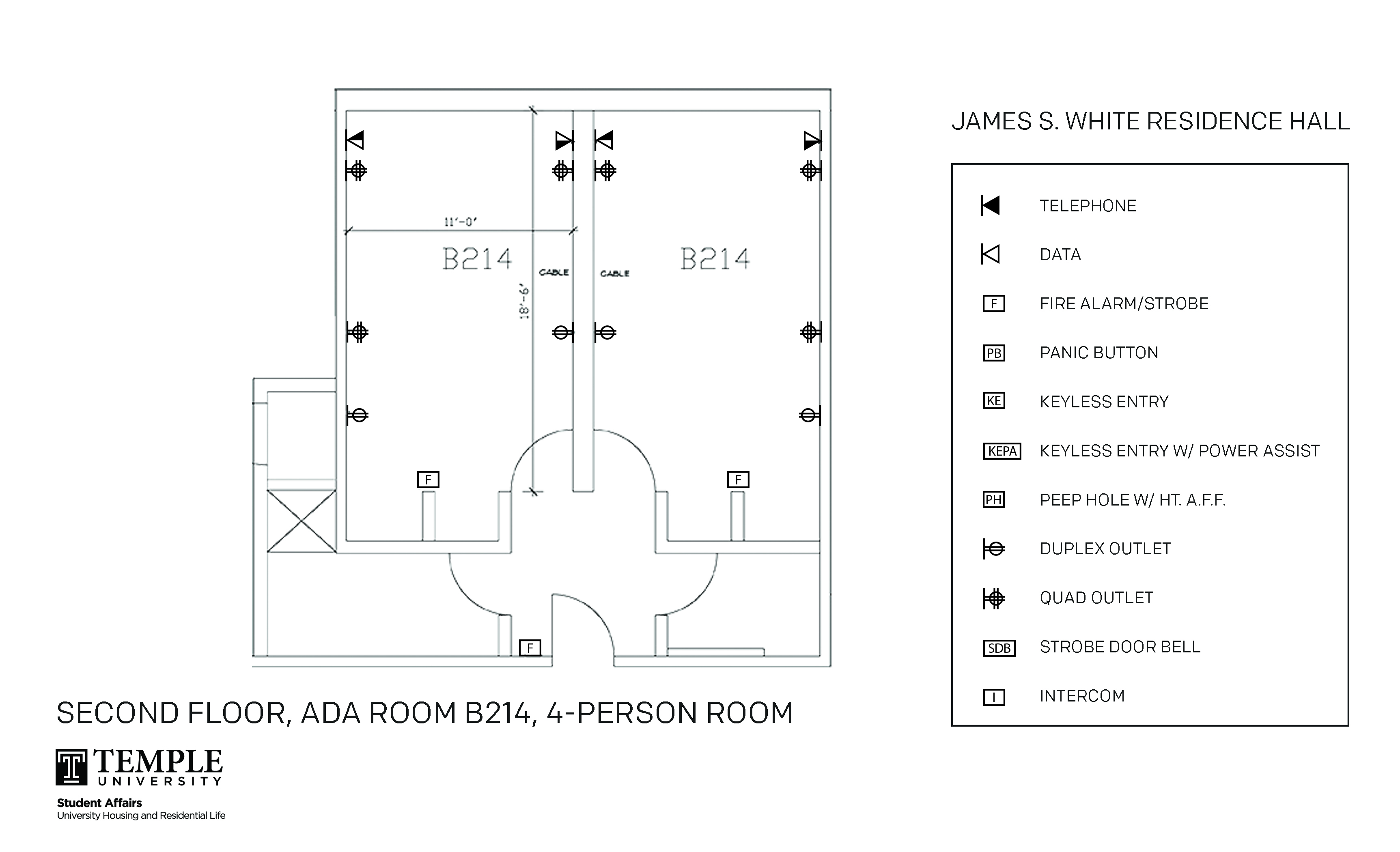 Accessible Room Diagrams: 4 person, 2 bedroom Suite - B214