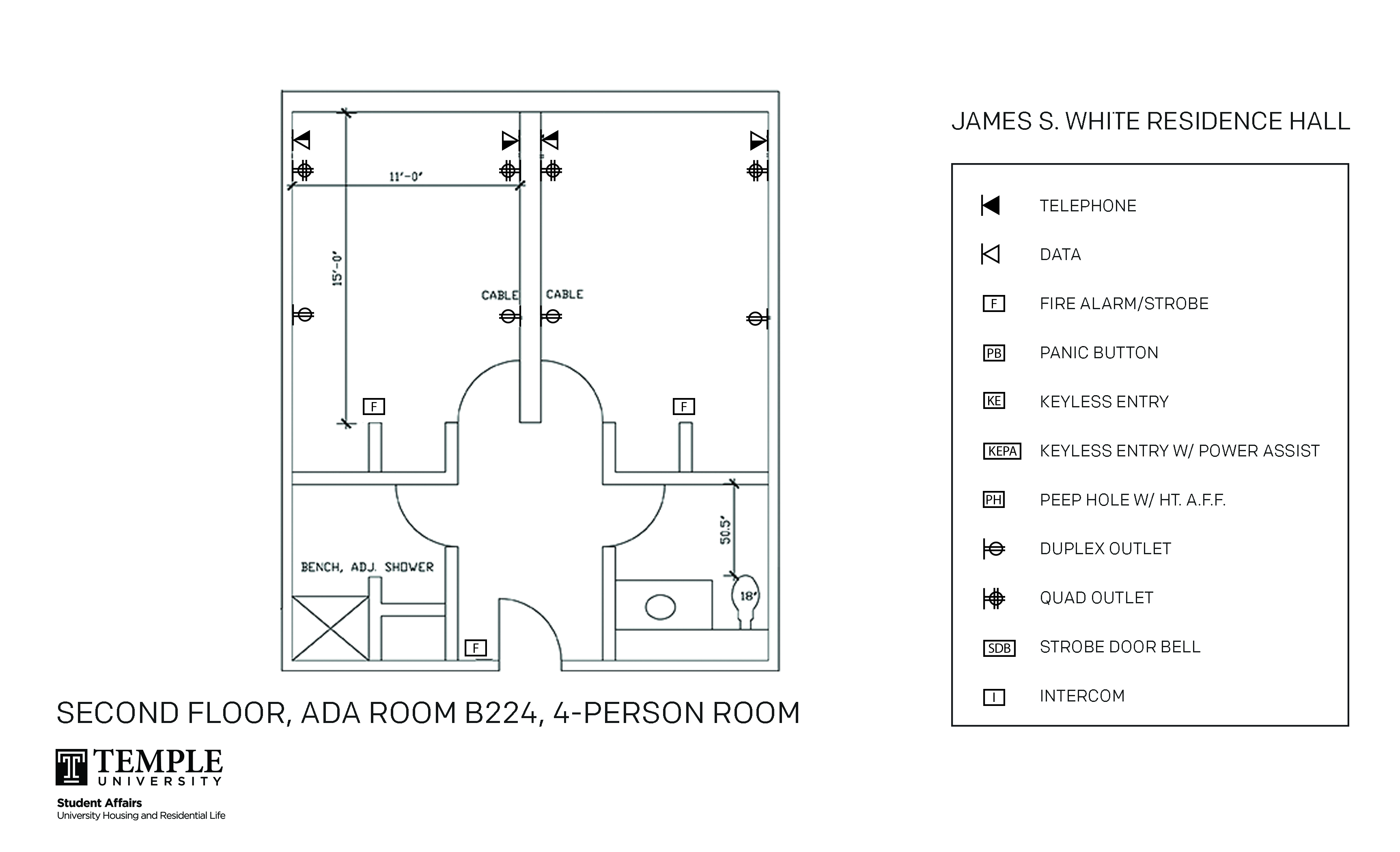 Accessible Room Diagrams: 4 person, 2 bedroom Suite - B224
