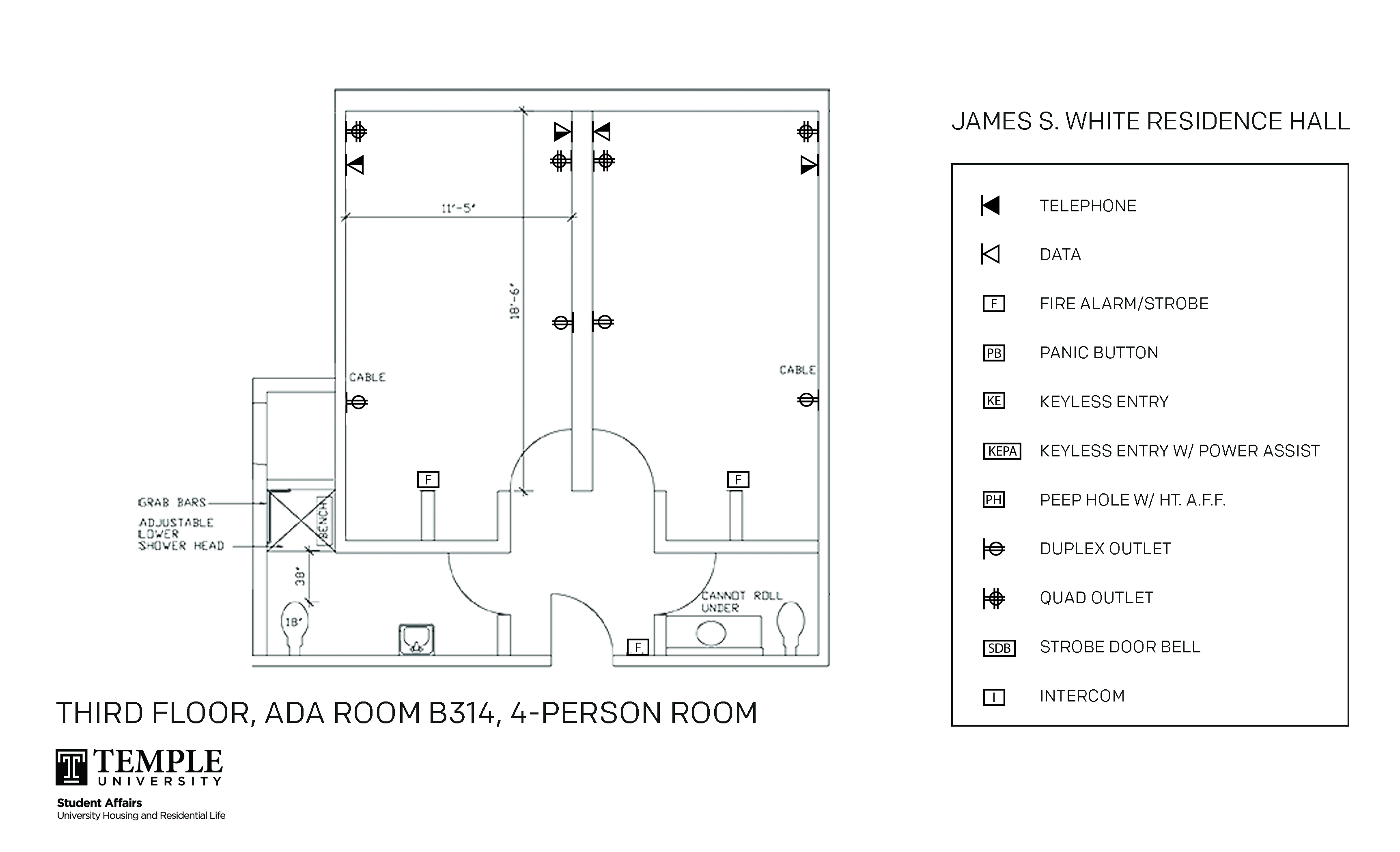 Accessible Room Diagrams: 4 person, 2 bedroom Suite - B314