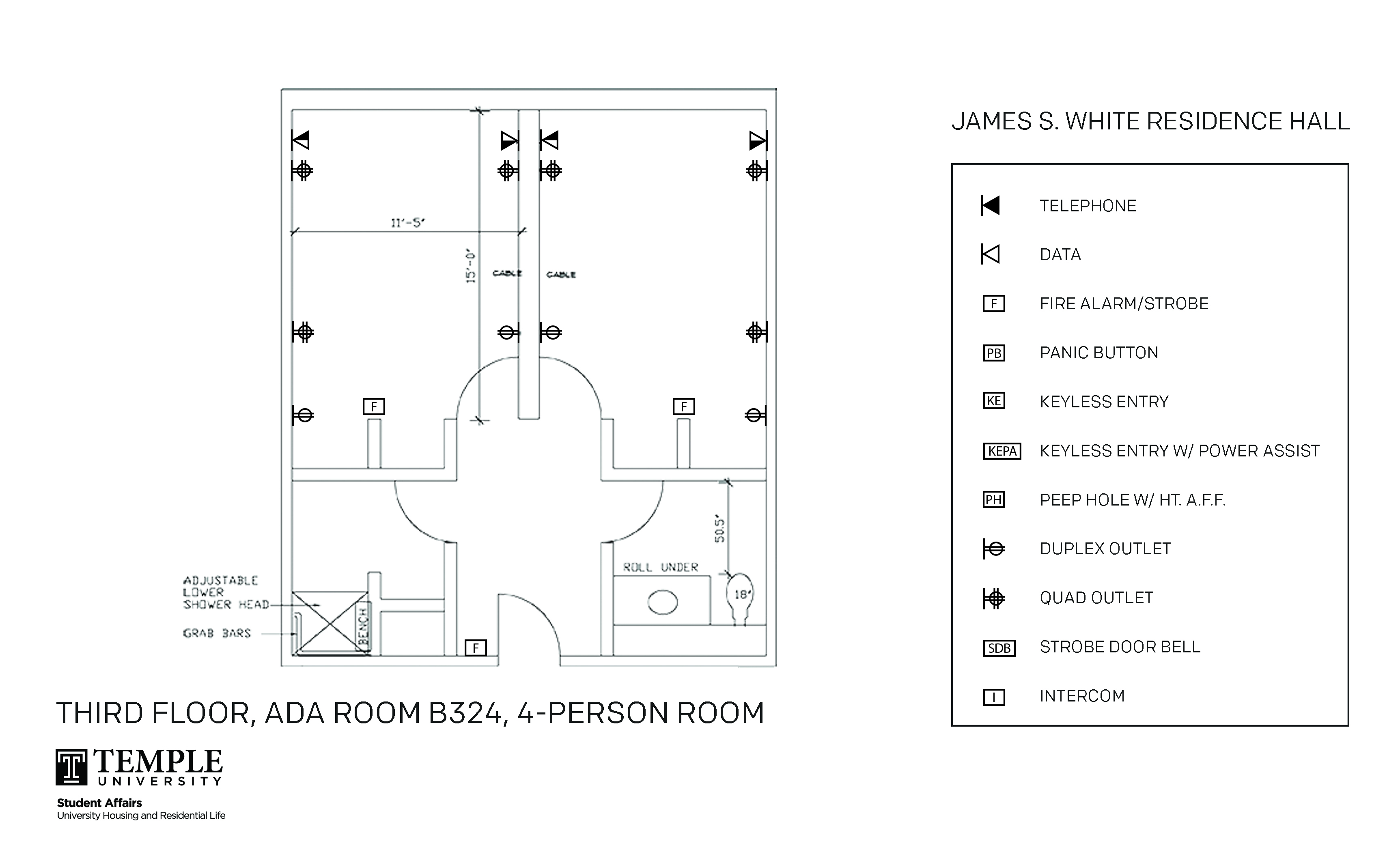 Accessible Room Diagrams: 4 person, 2 bedroom Suite - B324