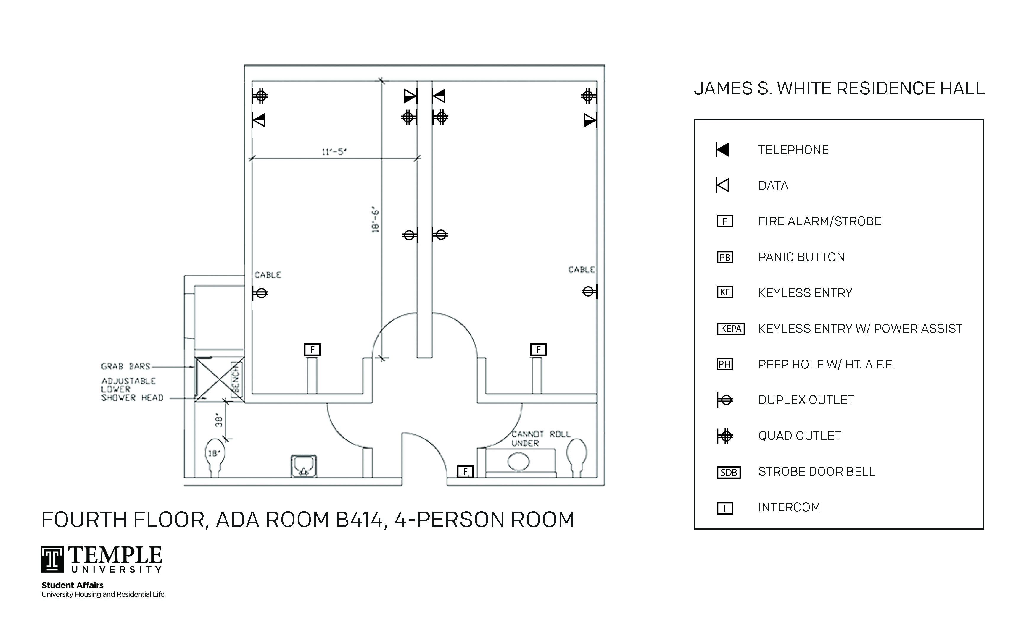 Accessible Room Diagrams: 4 person, 2 bedroom Suite - B414