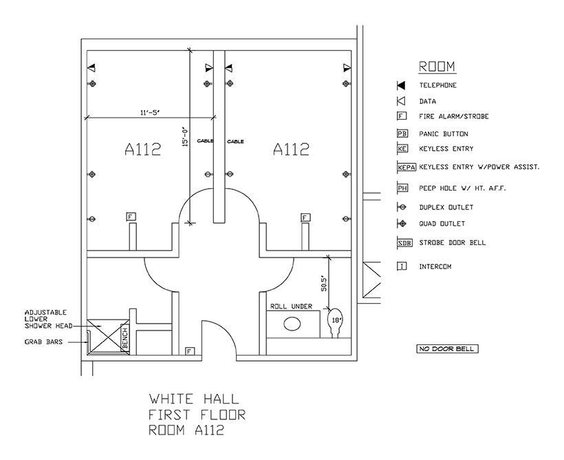 Accessible Room Diagrams: 1st Floor Room A112