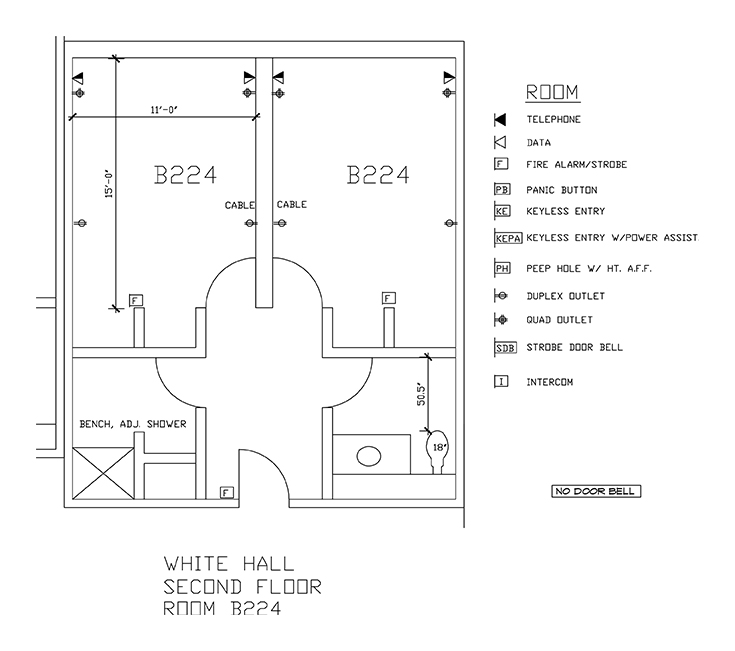 Accessible Room Diagrams: 2nd Floor Room B224
