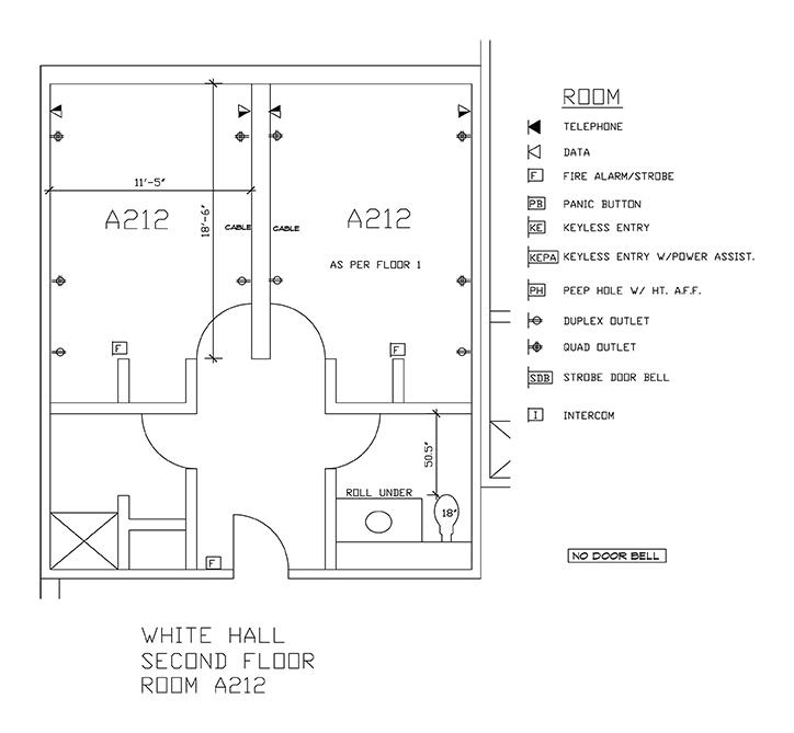 Accessible Room Diagrams: 2nd Floor Room A212