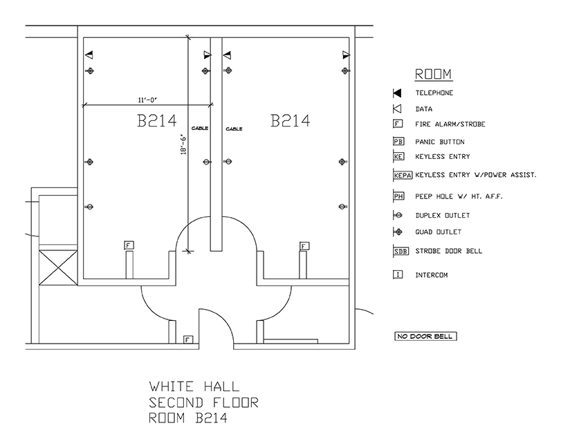 Accessible Room Diagrams: 2nd Floor Room B214