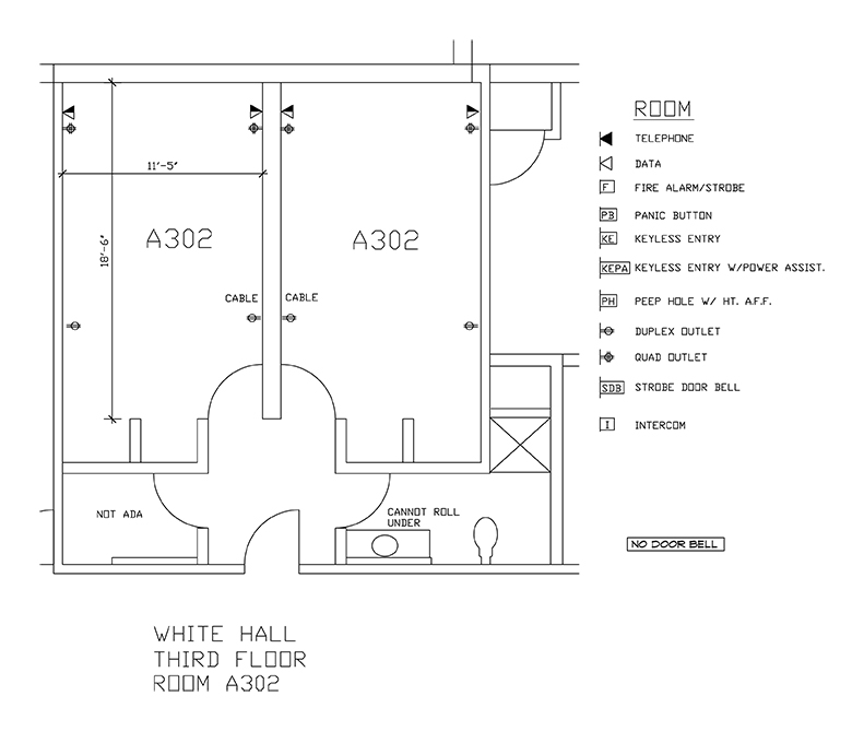 Accessible Room Diagrams: 3rd Floor Room A302