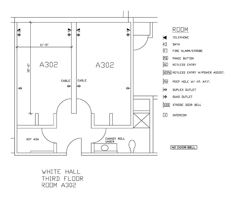Accessible Room Diagrams: 3rd Floor Room A302