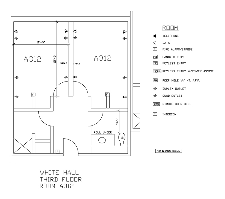 Accessible Room Diagrams: 3rd Floor Room A312