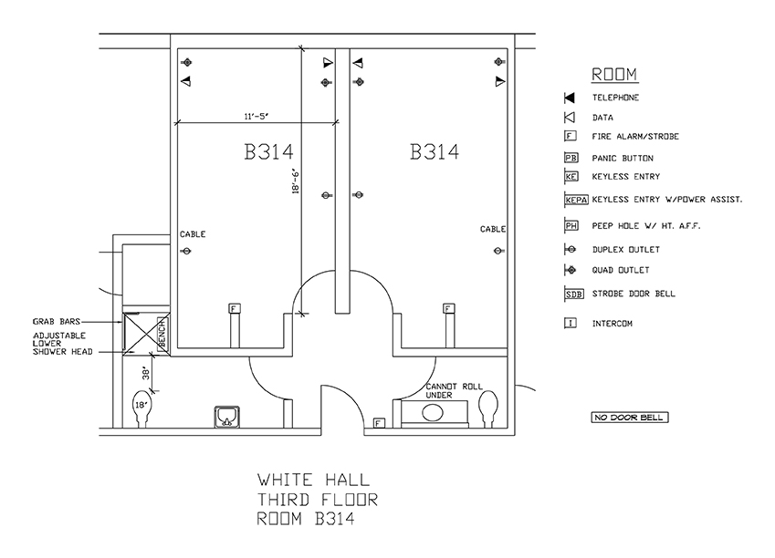 Accessible Room Diagrams: 3rd Floor Room B314