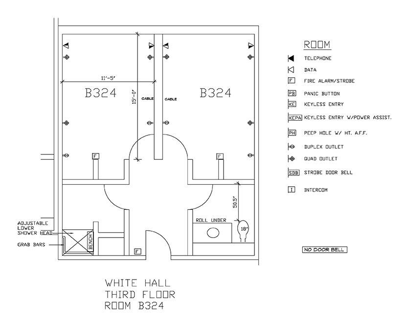 Accessible Room Diagrams: 3rd Floor Room B324