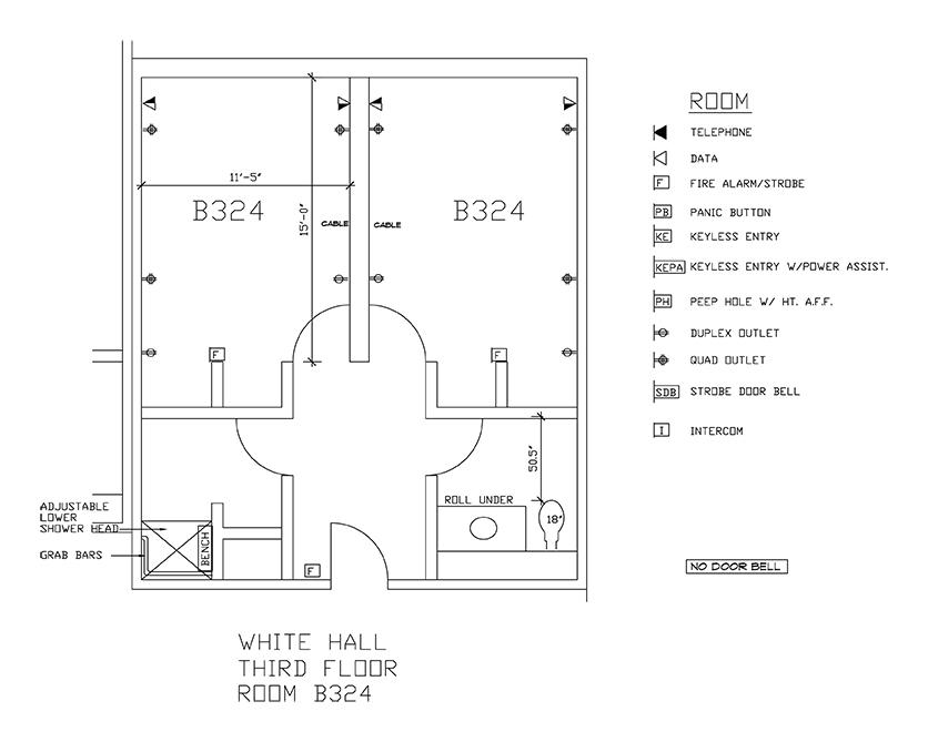 Accessible Room Diagrams: 3rd Floor Room B324