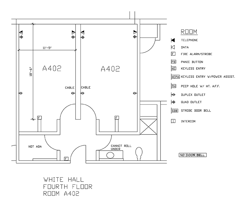 Accessible Room Diagrams: 4th Floor Room A402