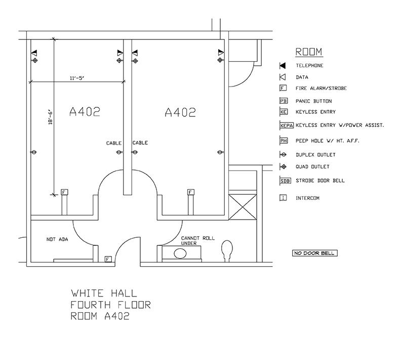 Accessible Room Diagrams: 4th Floor Room A402