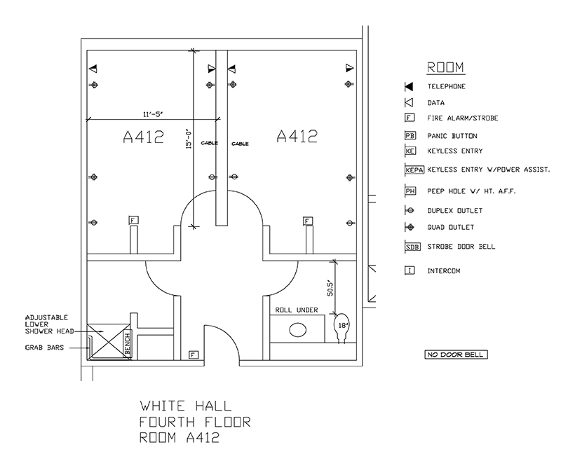 Accessible Room Diagrams: 4th Floor Room A412