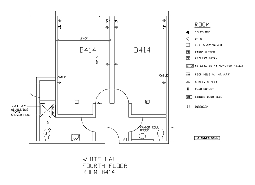 Accessible Room Diagrams: 4th Floor Room B414
