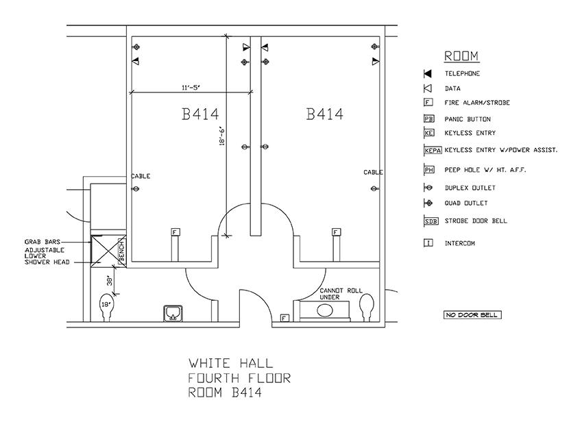 Accessible Room Diagrams: 4th Floor Room B414