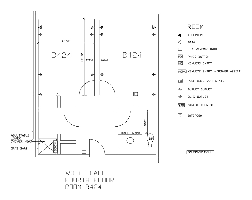 Accessible Room Diagrams: 4th Floor Room B424
