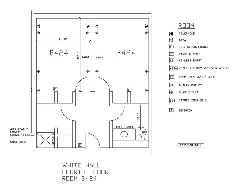 Accessible Room Diagrams: 4th Floor Room B424