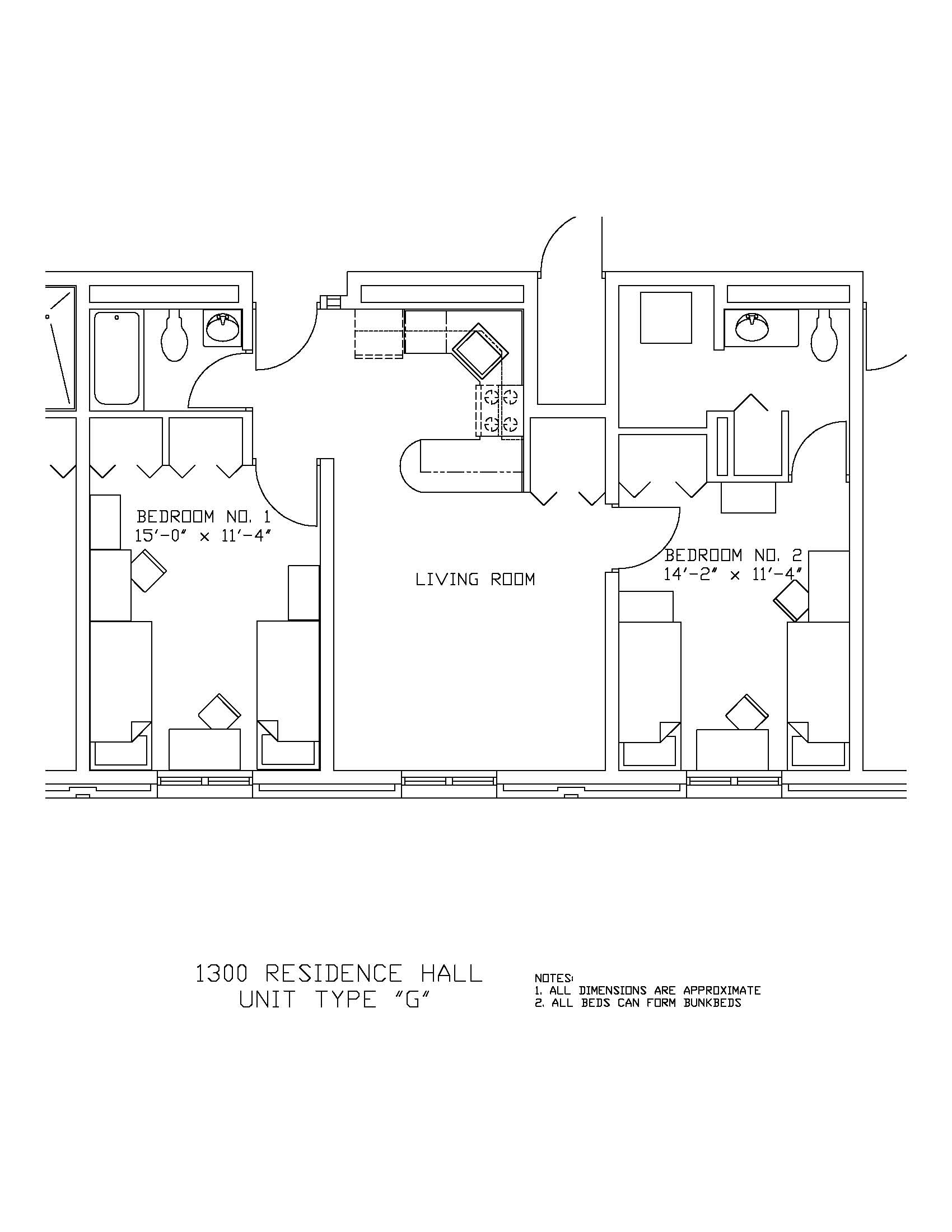 1300 Residence Hall: Type G