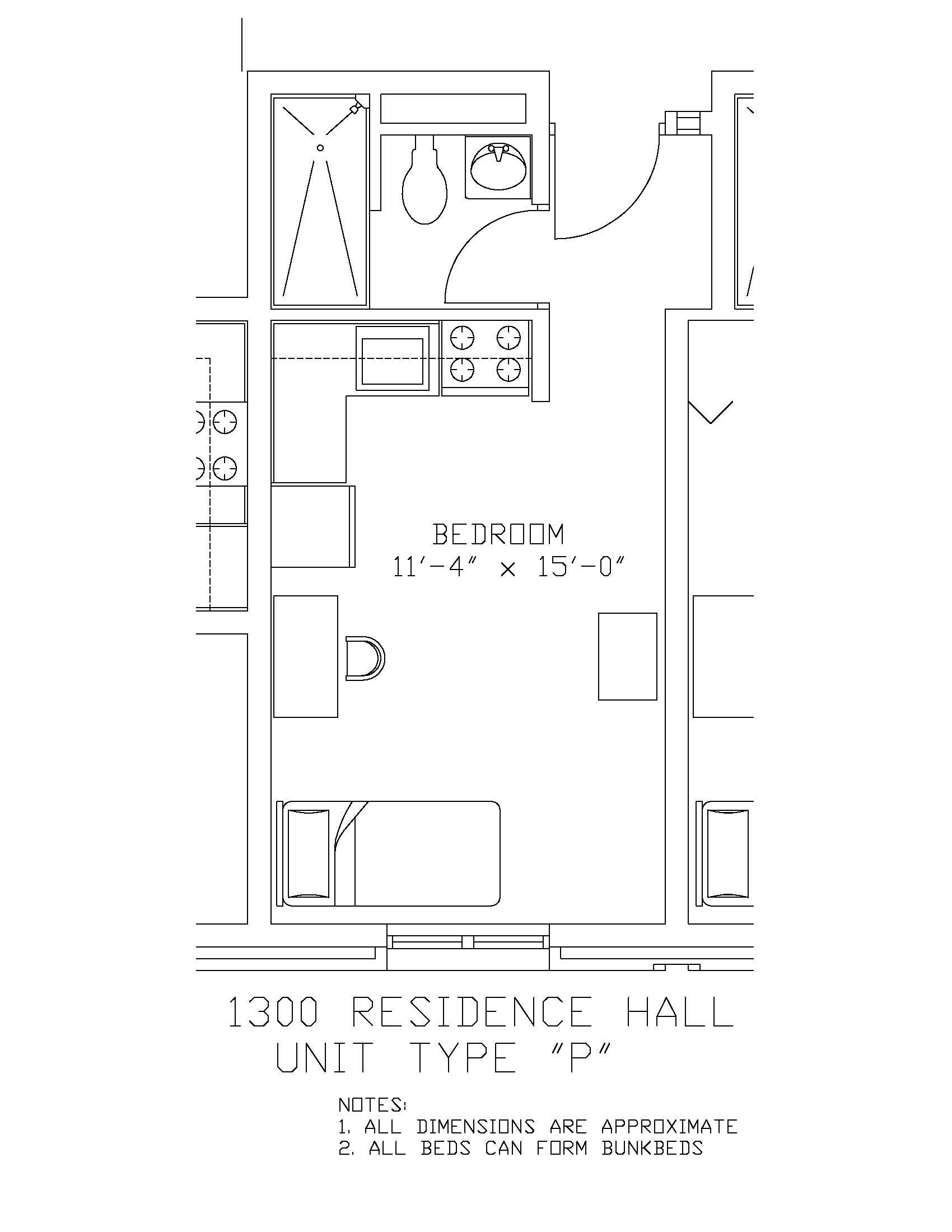 1300 Residence Hall: Type P