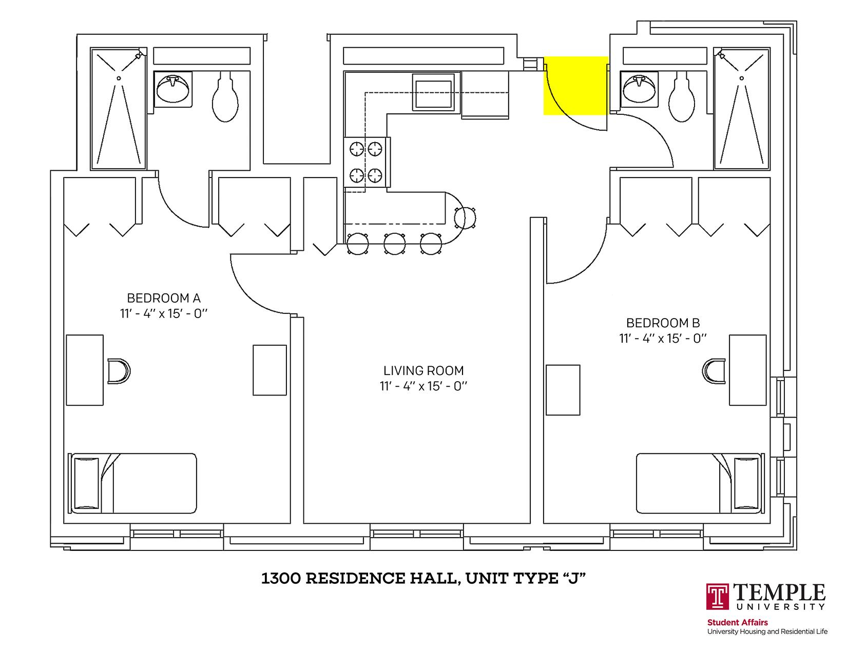 1300 Residence Hall: Unit J