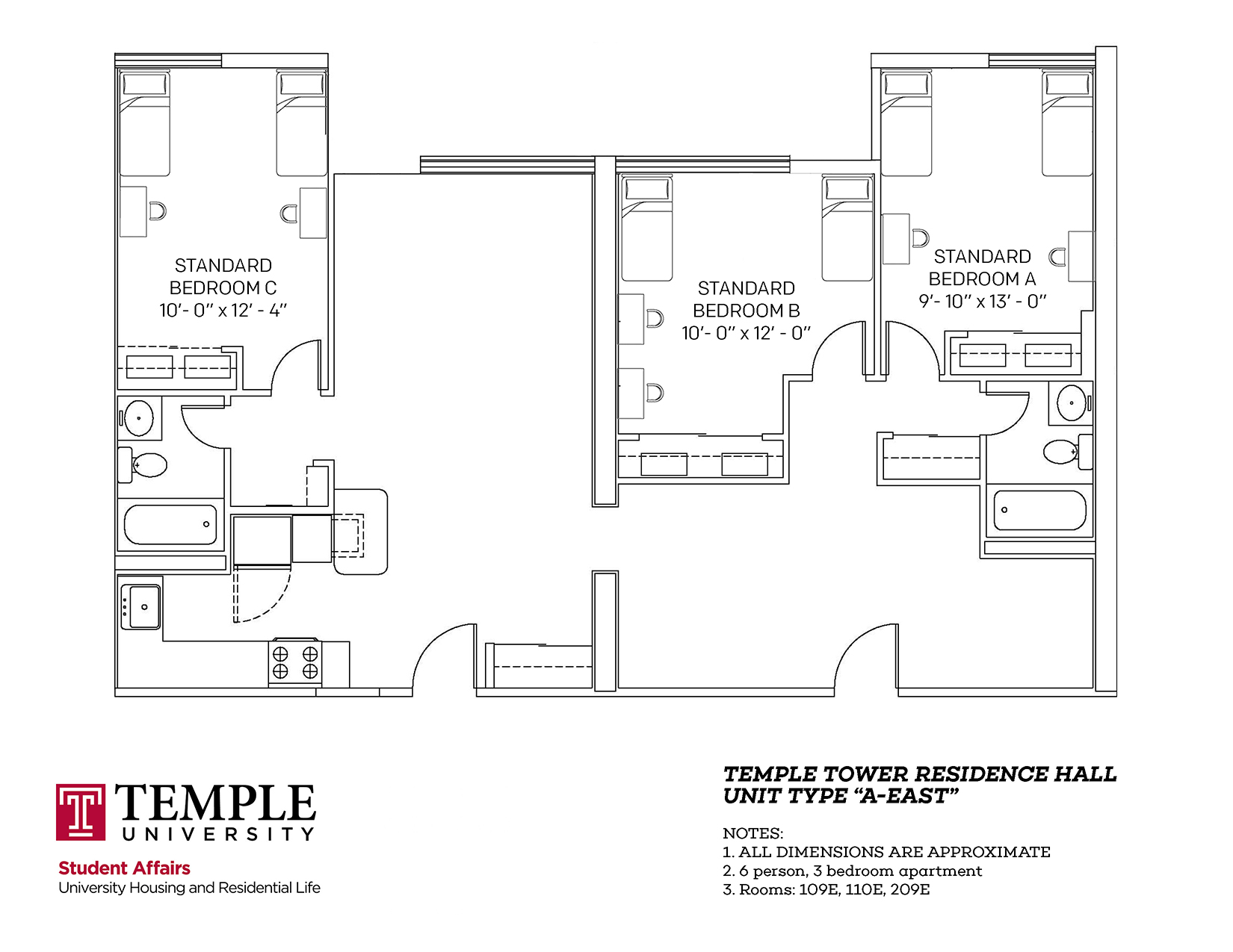 Temple Towers: Unit A East - 6 person, 3 bedroom Apartment