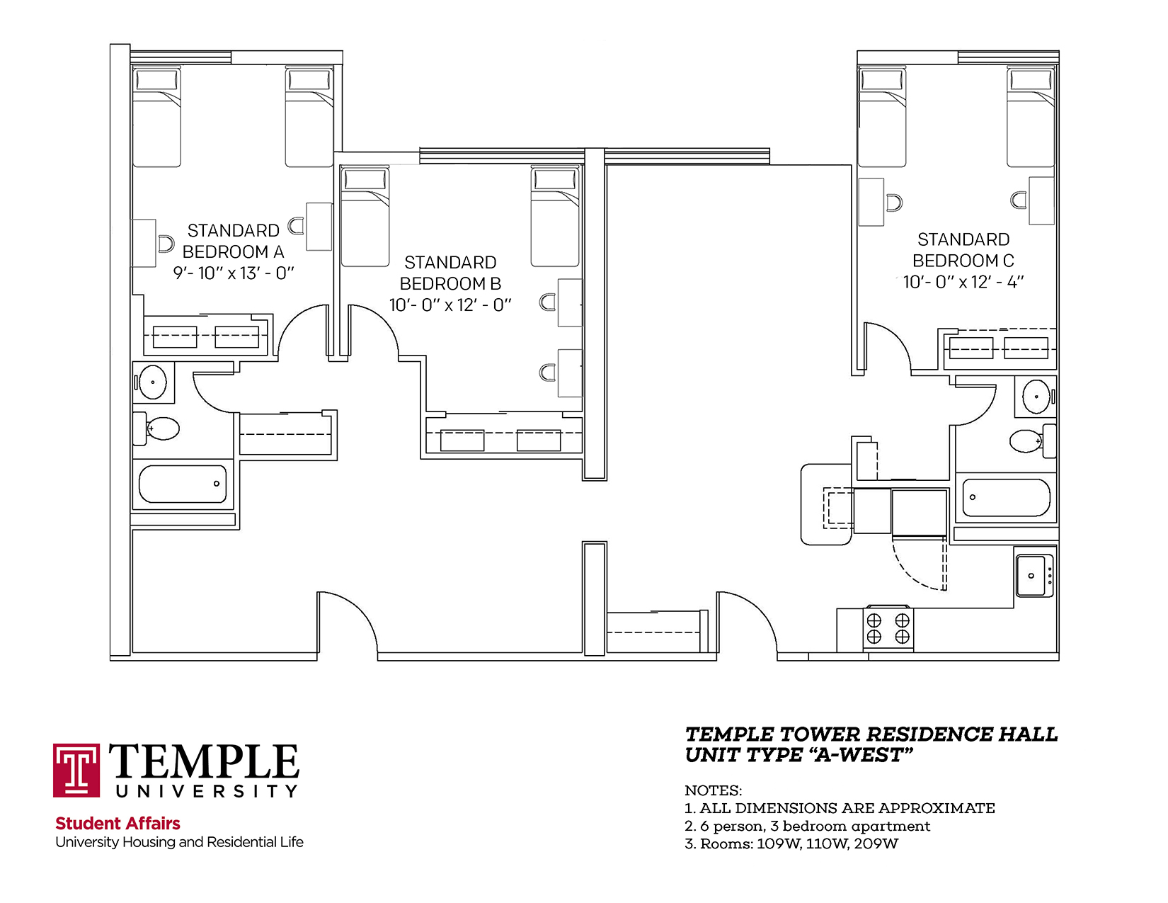 Temple Towers: Unit A West - 6 person, 3 bedroom Apartment