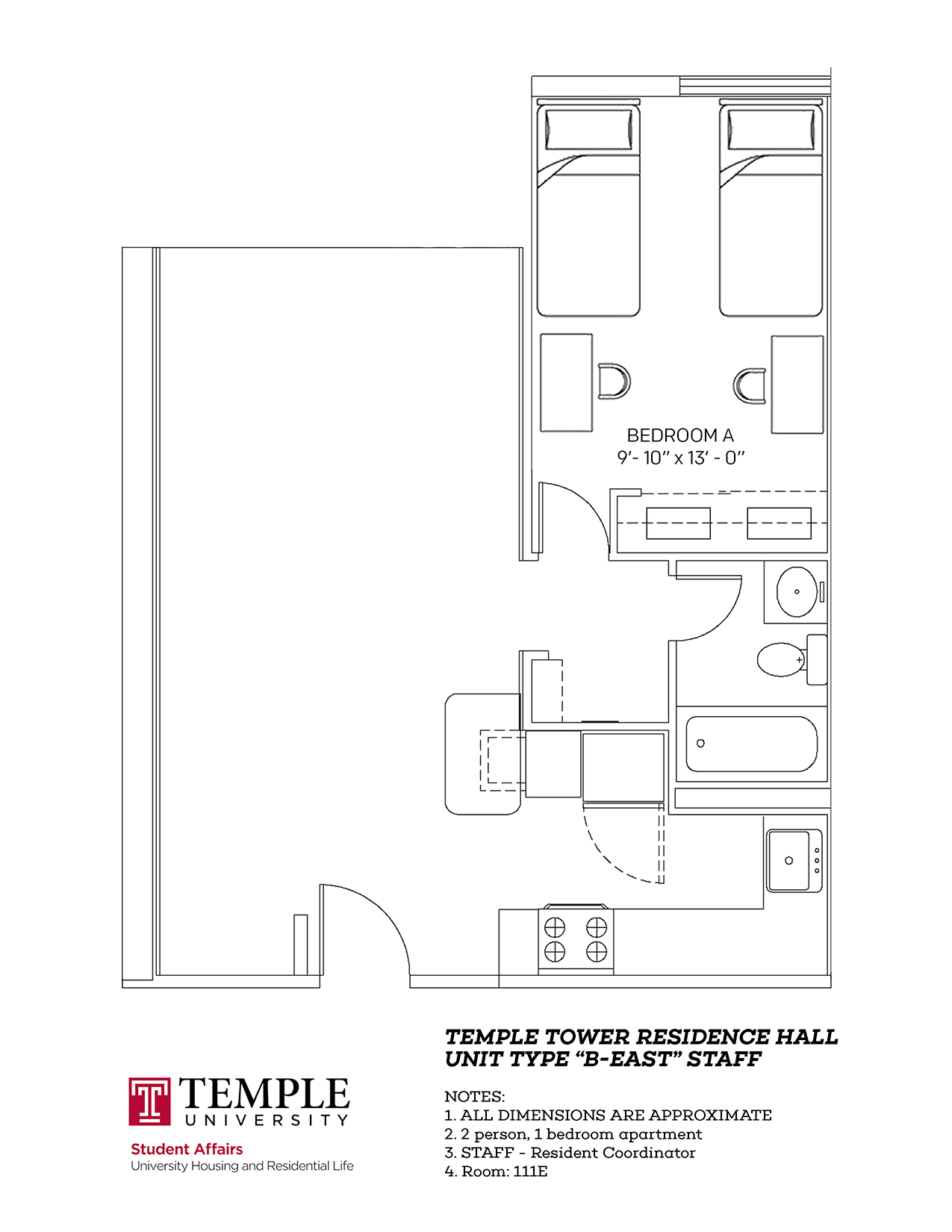 Temple Towers: Unit B East - 2 person, 1 bedroom Apartment