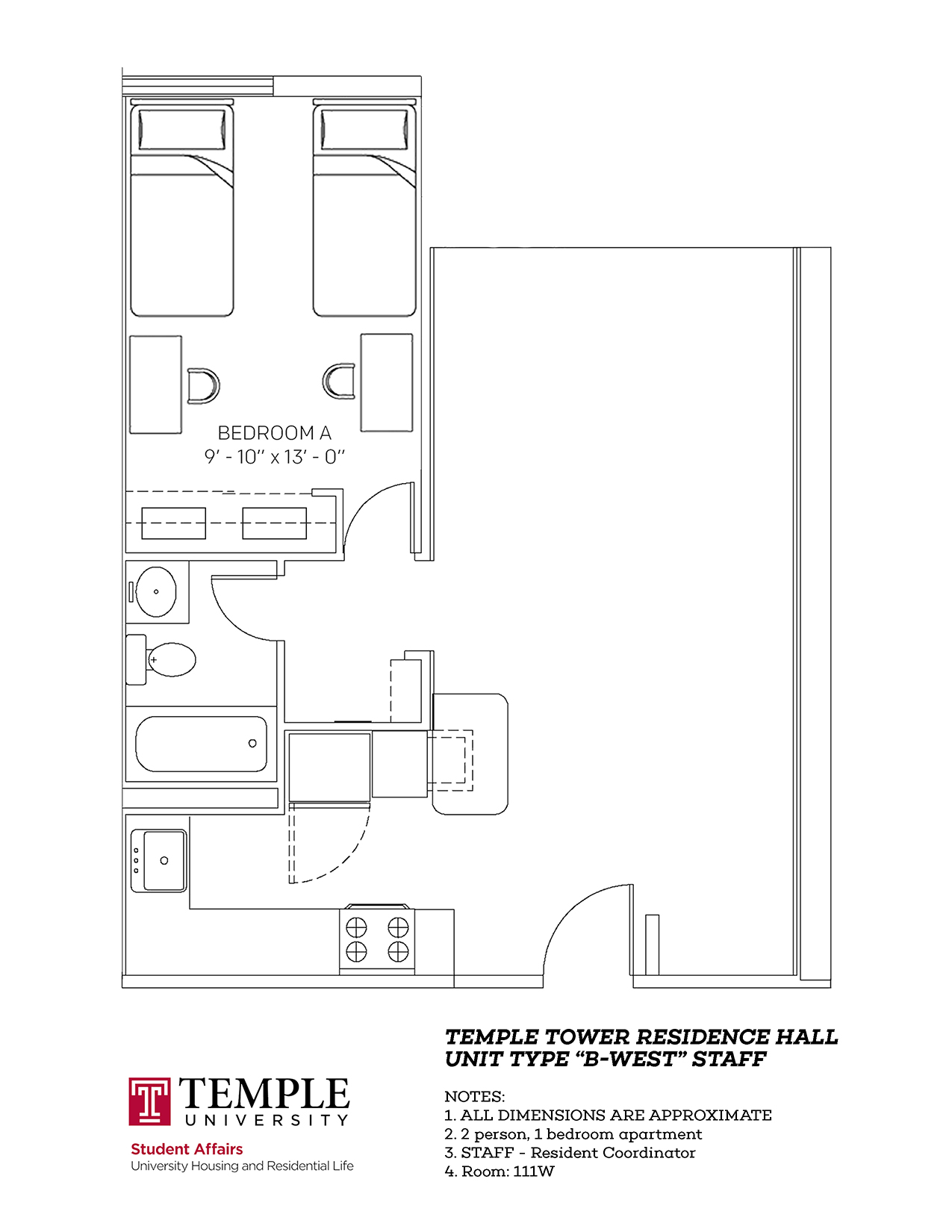 Temple Towers: Unit B West - 2 person, 1 bedroom Apartment