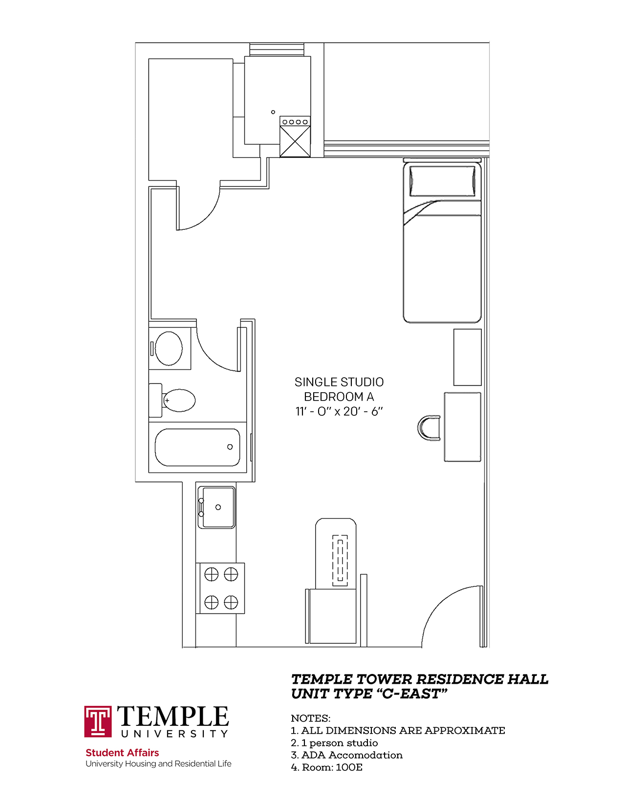 Temple Towers: Unit C East - 1 person, Studio Apartment