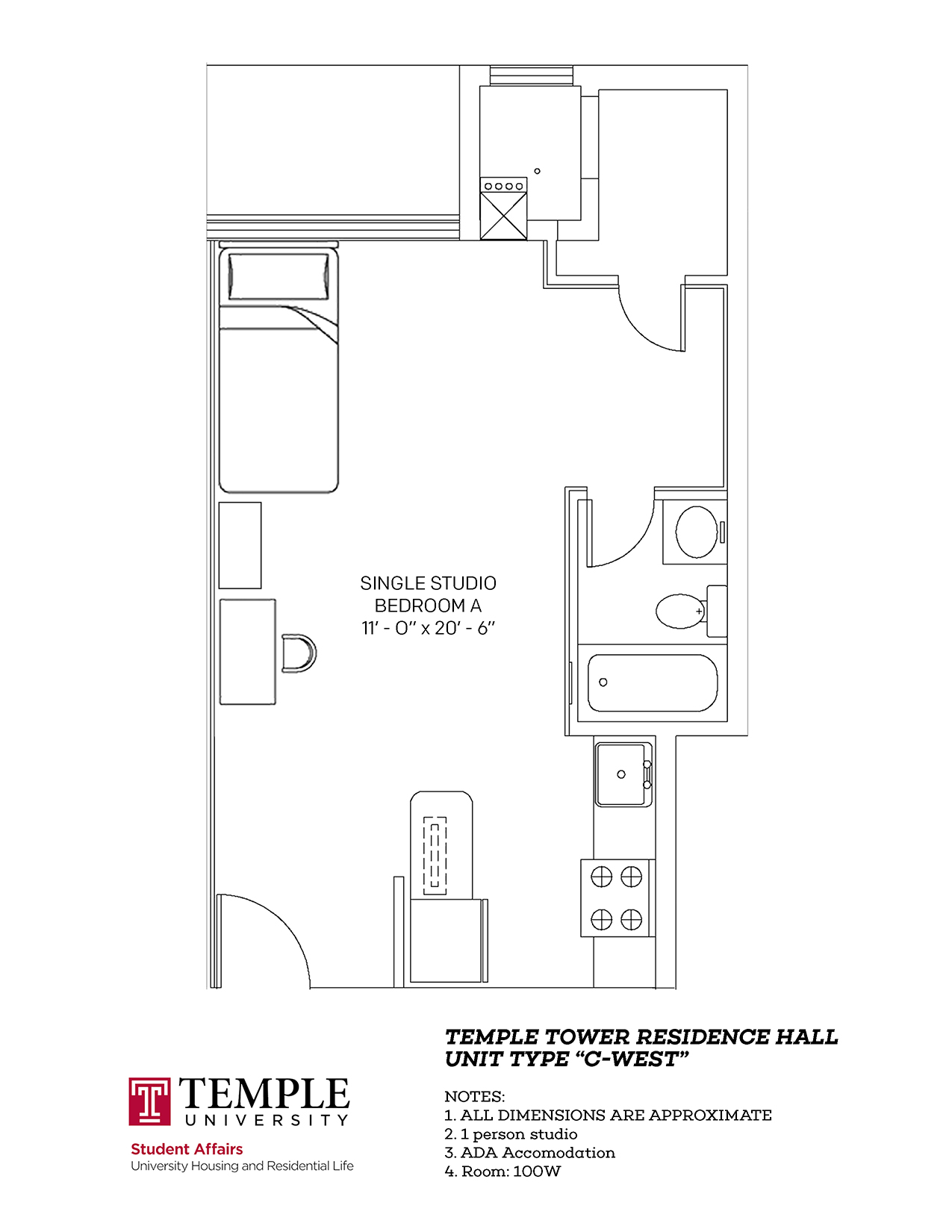 Temple Towers: Unit C West - 1 person, Studio Apartment