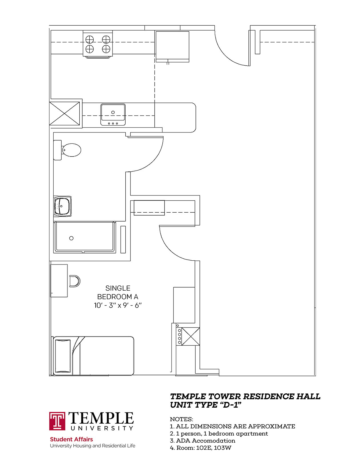 Temple Towers: Unit D1 - 1 person, 1 bedroom Apartment