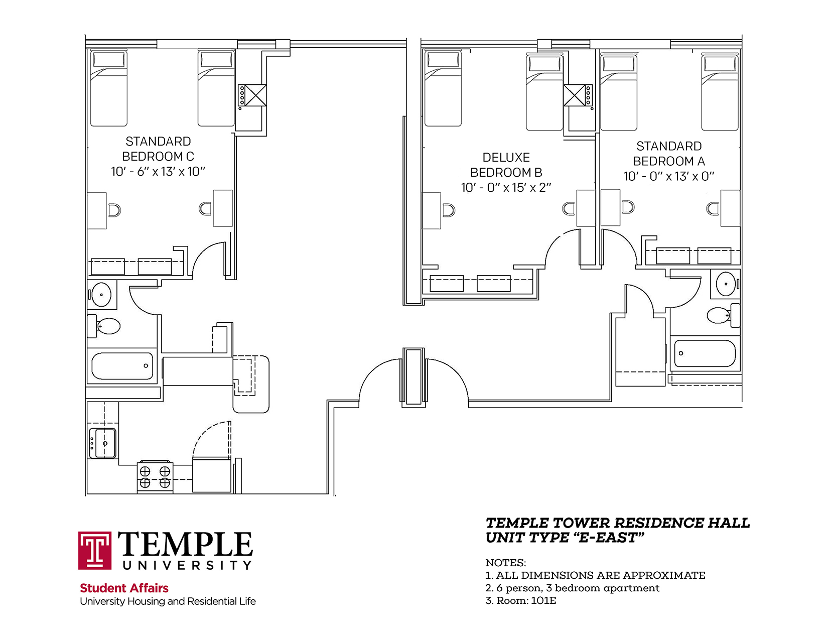 Temple Towers: Unit E East - 6 person, 3 bedroom Apartment