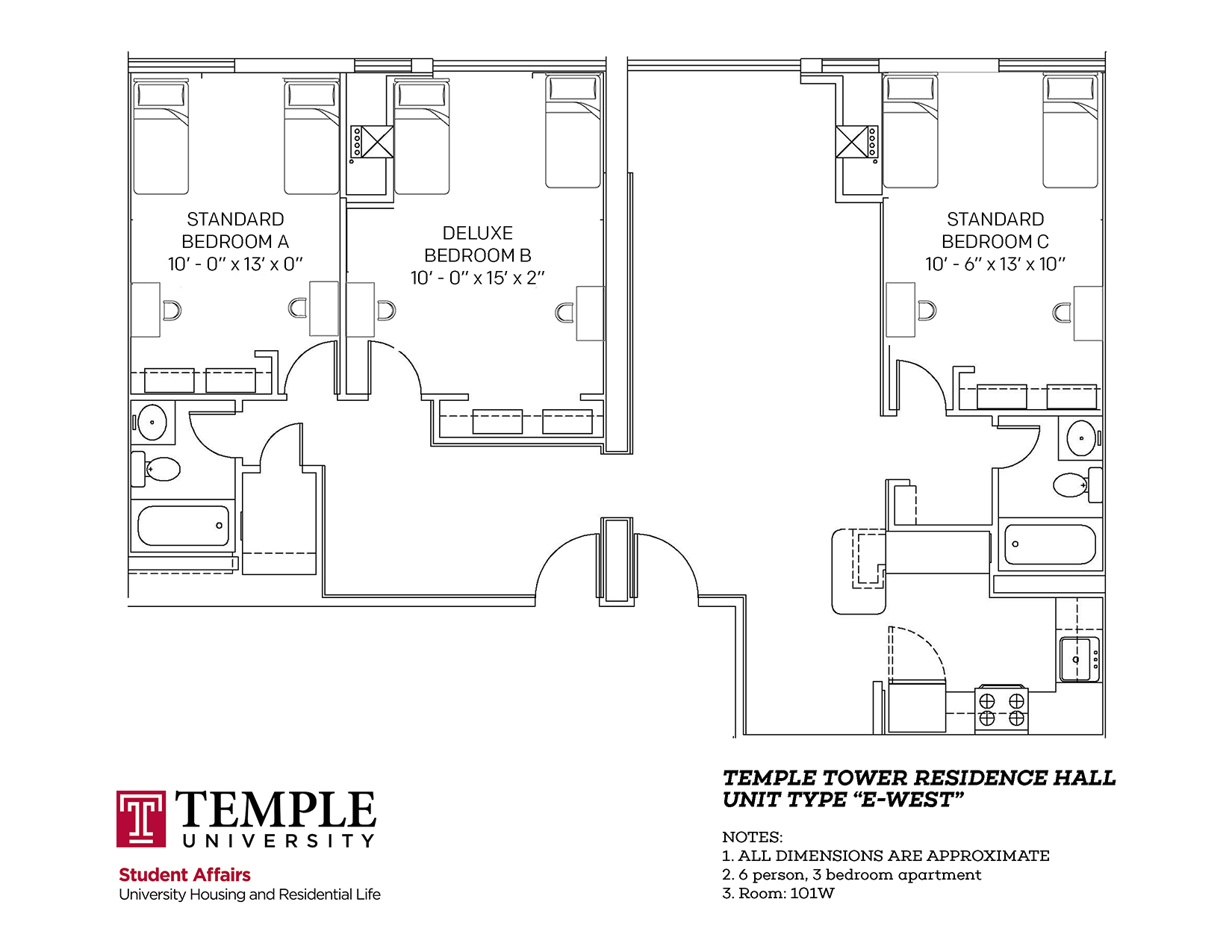 Temple Towers: Unit E West - 6 person, 3 bedroom Apartment