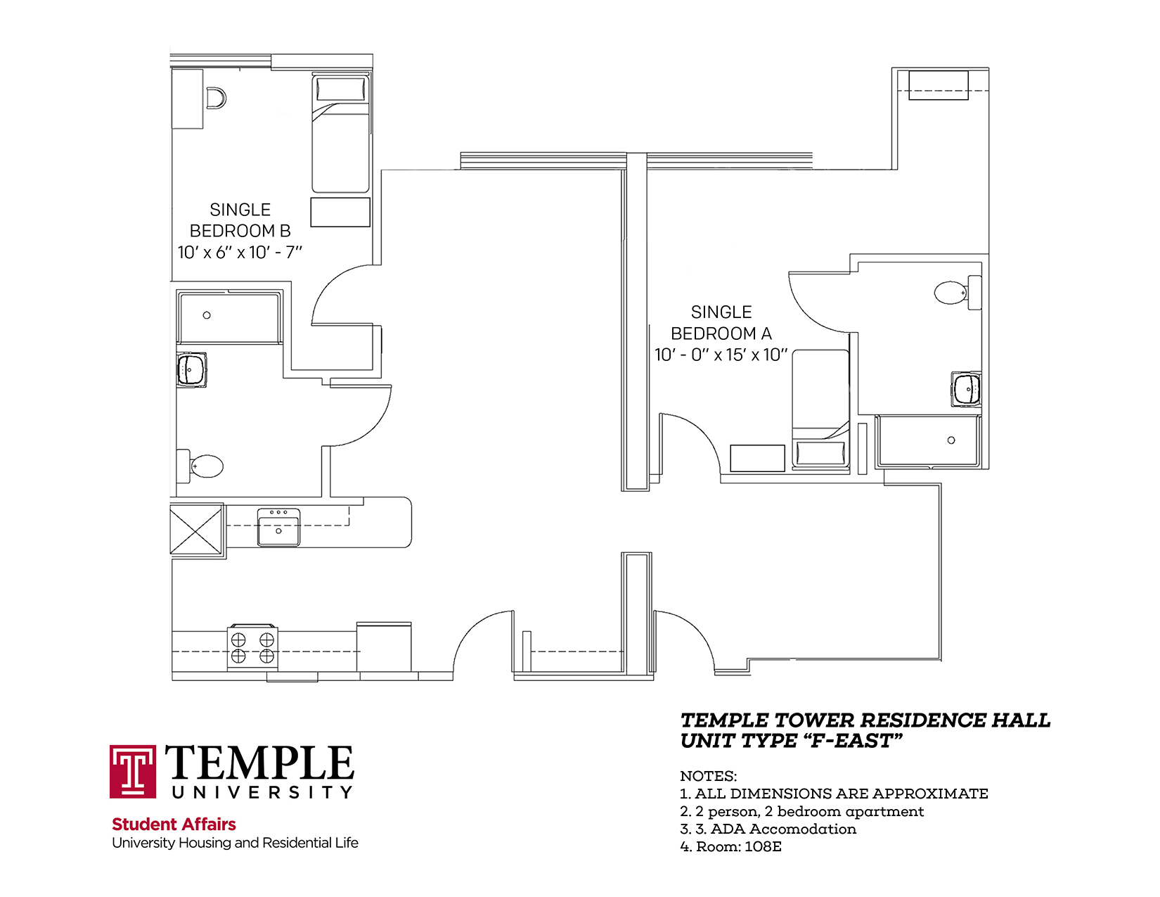 Temple Towers: Unit F East - 2 person, 2 bedroom Apartment