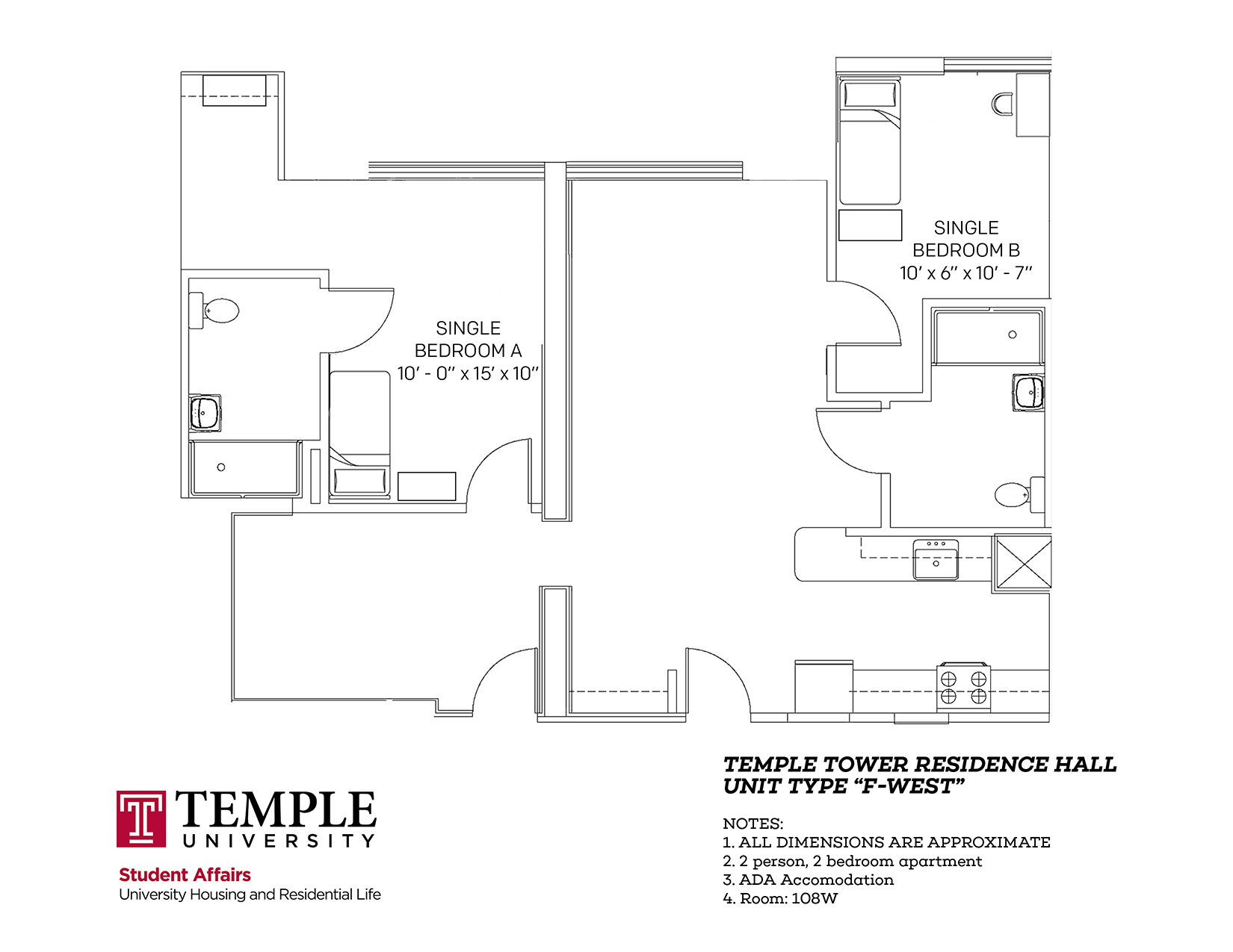 Temple Towers: Unit F West - 2 person, 2 bedroom Apartment