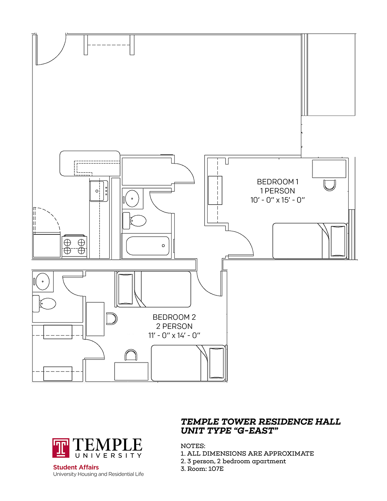 Temple Towers: Unit G East - 3 person, 2 bedroom Apartment