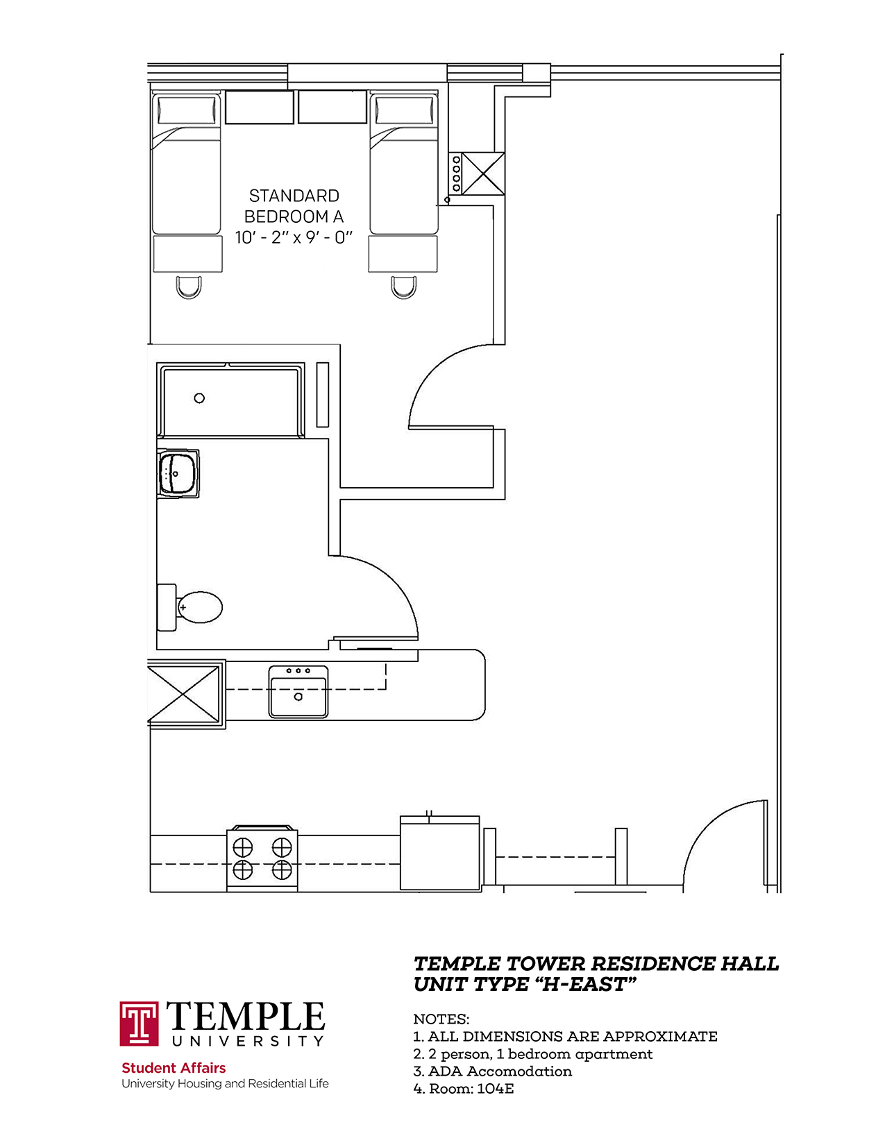 Temple Towers: Unit H East - 2 person, 1 bedroom Apartment