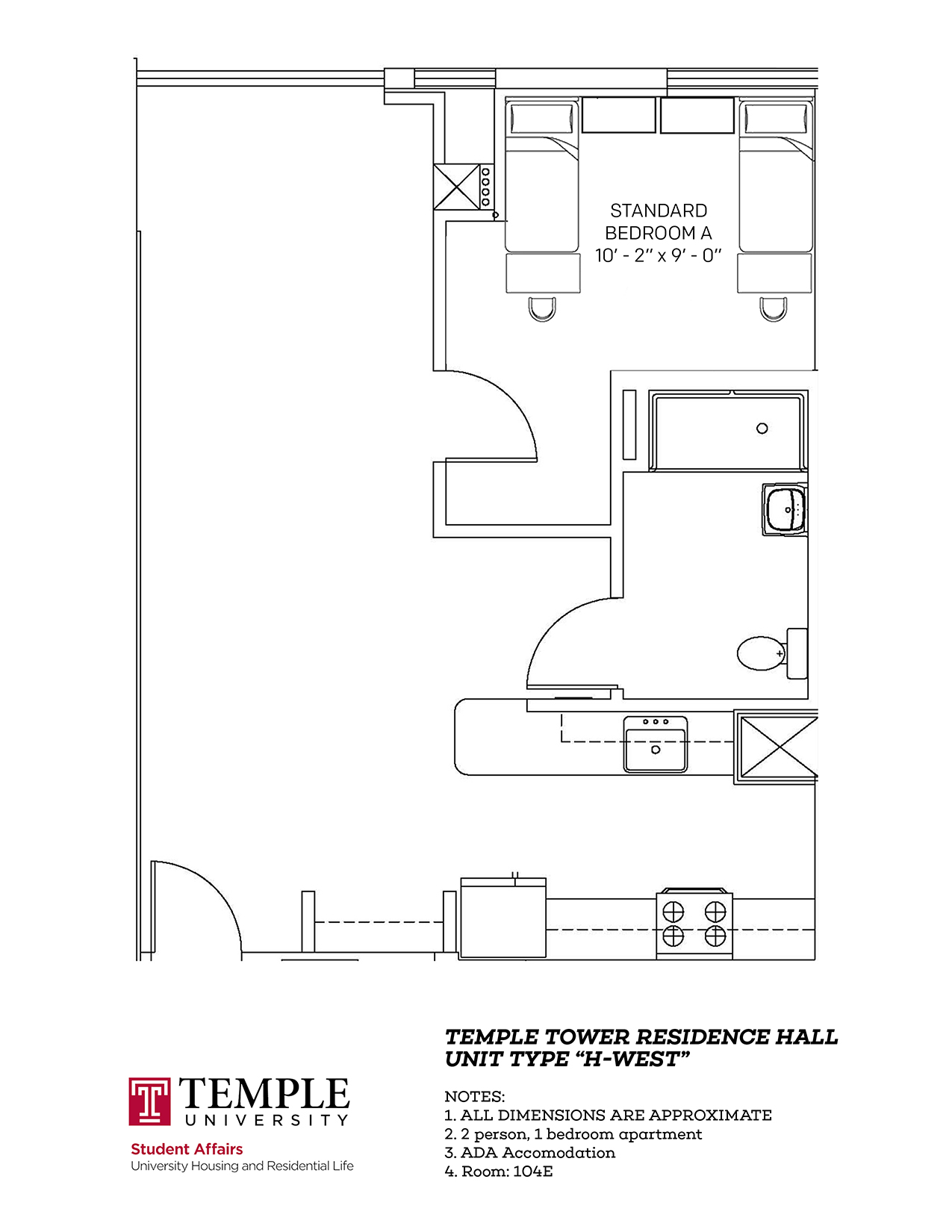 Temple Towers: Unit H West - 2 person, 1 bedroom Apartment