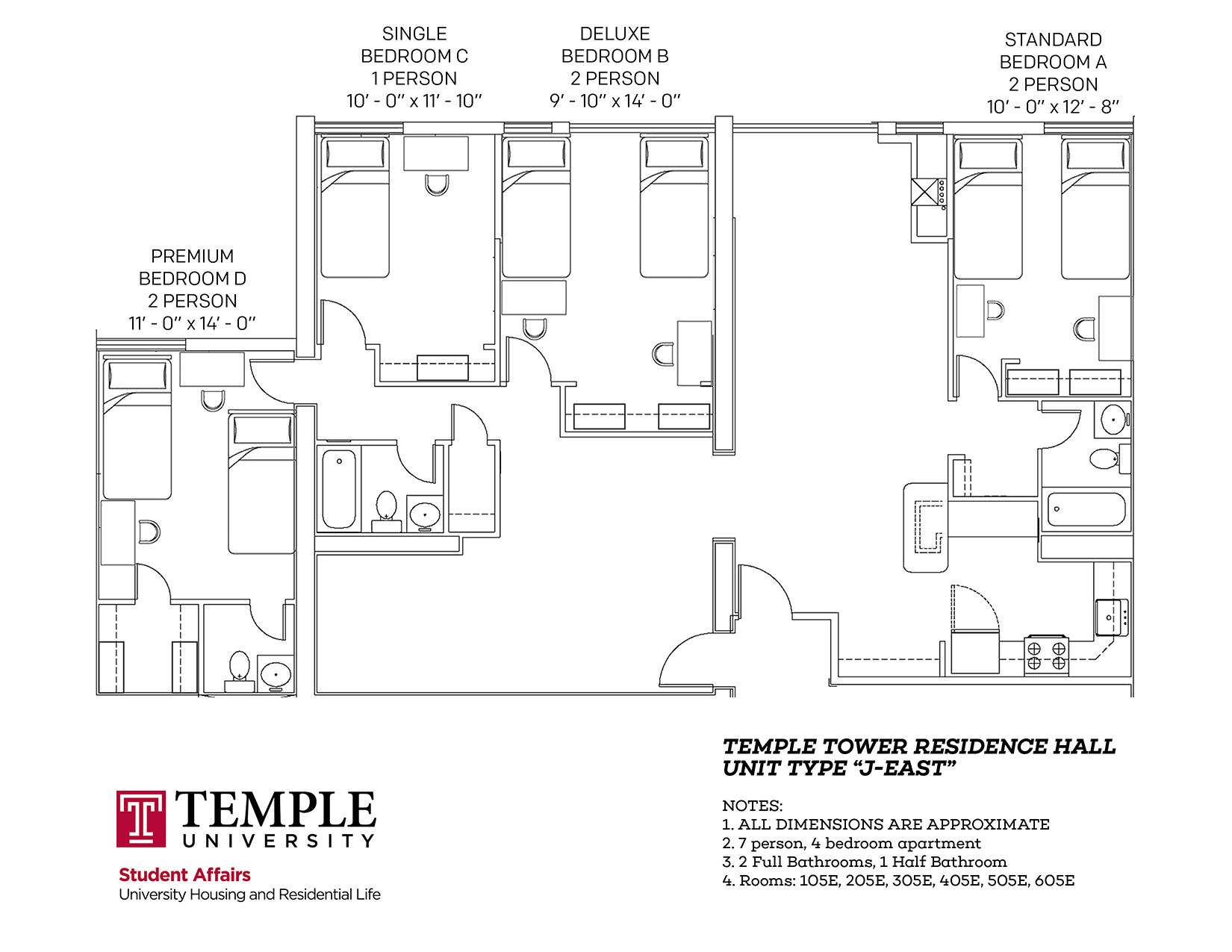 Temple Towers: Unit J East - 7 person, 4 bedroom Apartment