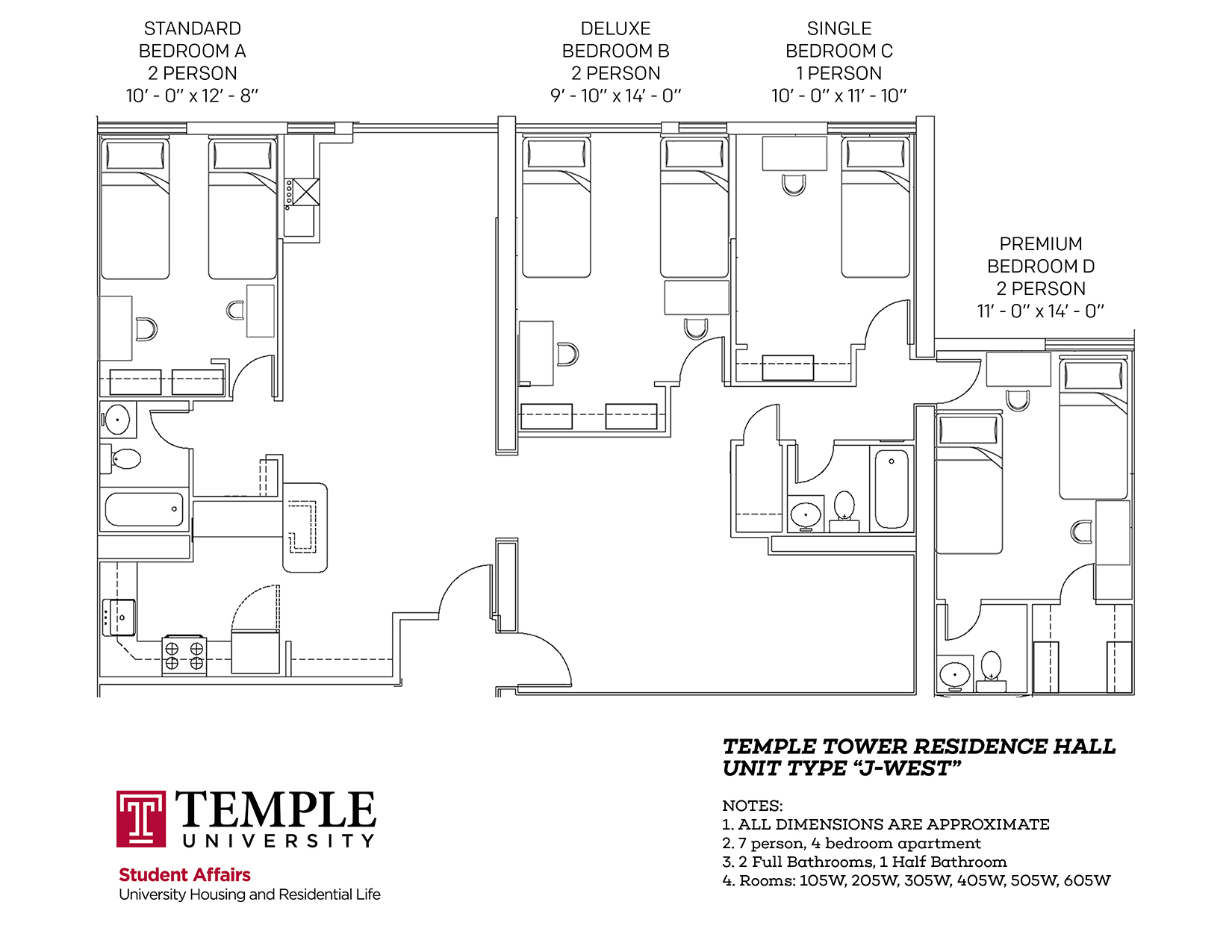 Temple Towers: Unit J West - 7 person, 4 bedroom Apartment
