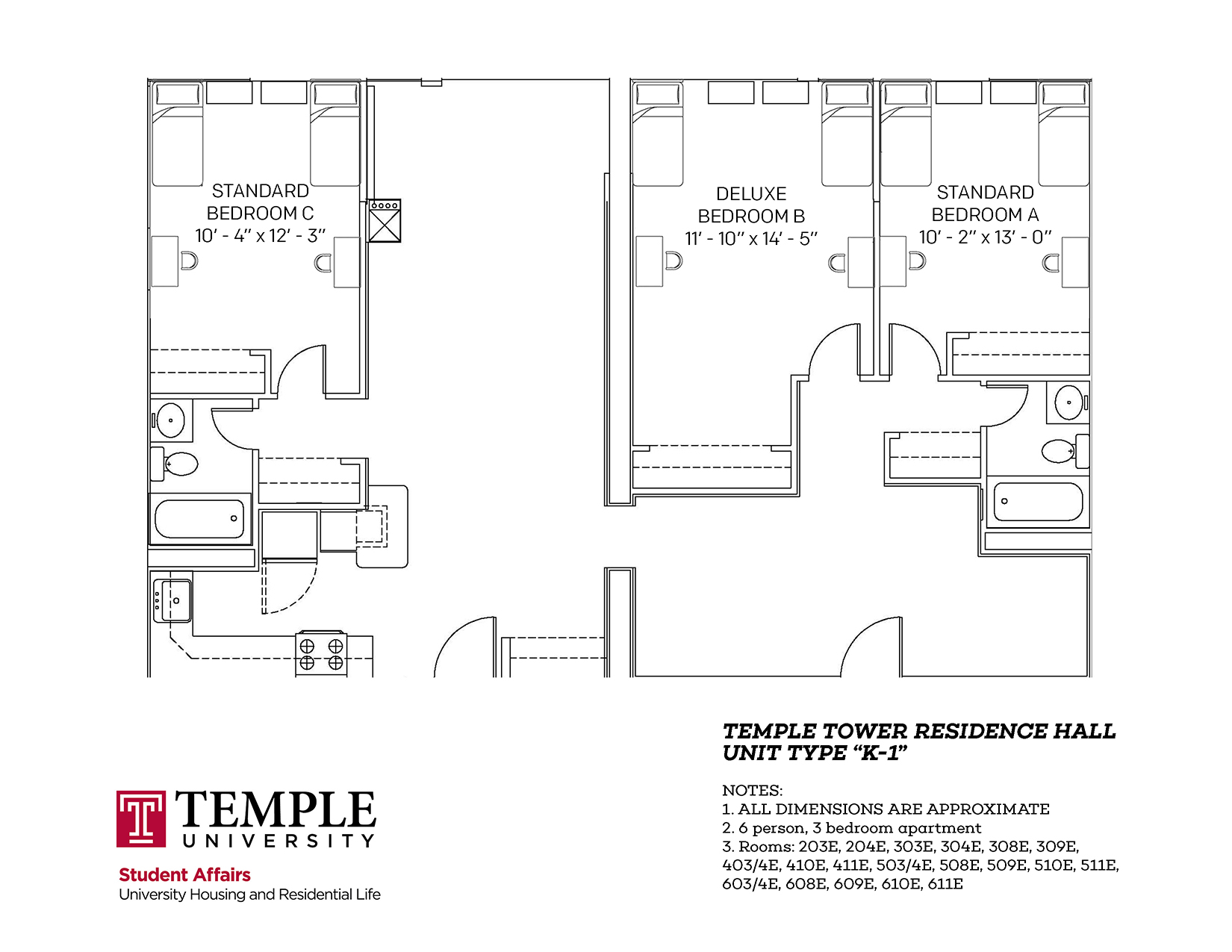 Temple Towers: Unit K1 - 6 person, 3 bedroom Apartment