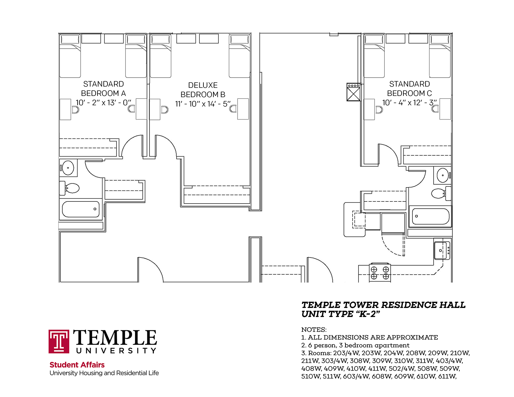 Temple Towers: Unit K2 - 6 person, 3 bedroom Apartment