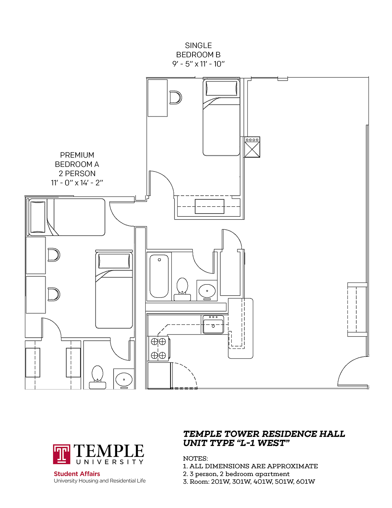 Temple Towers: Unit L1 West - 3 person, 2 bedroom Apartment