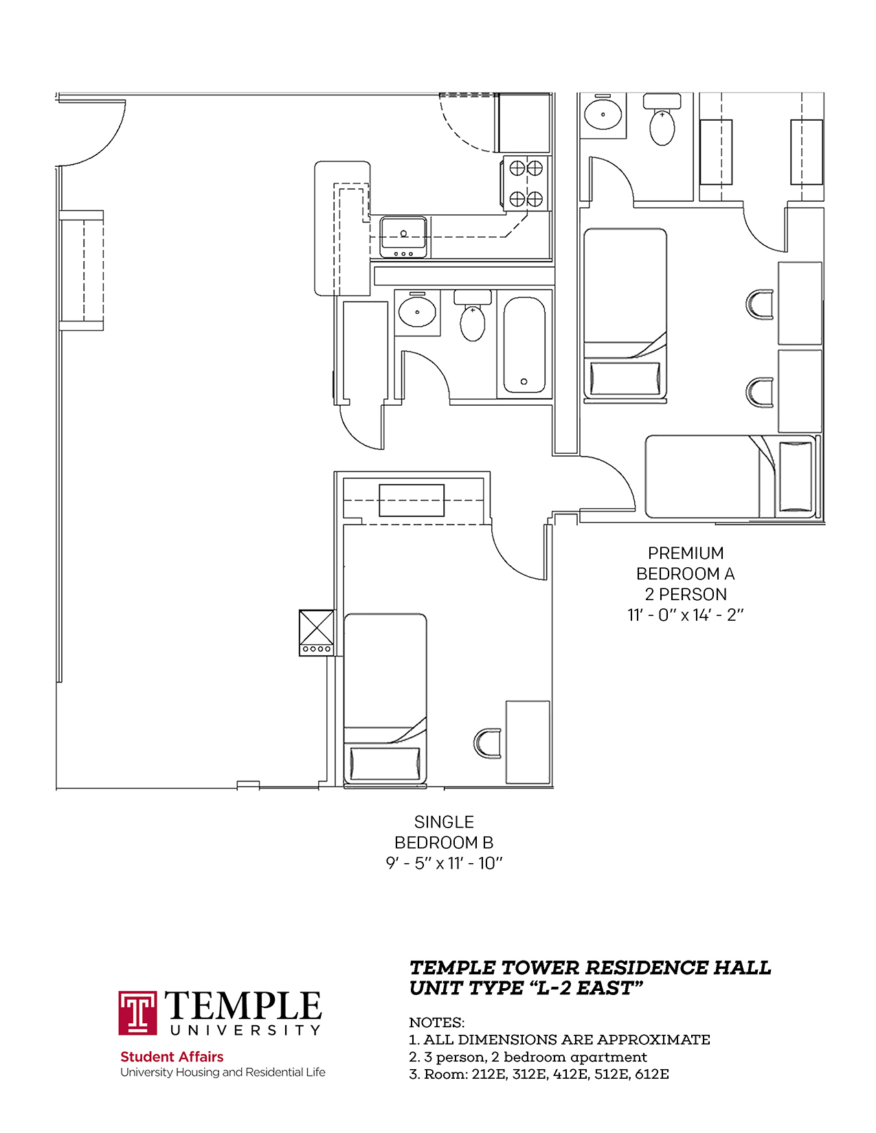 Temple Towers: Unit L2 East - 3 person, 2 bedroom Apartment