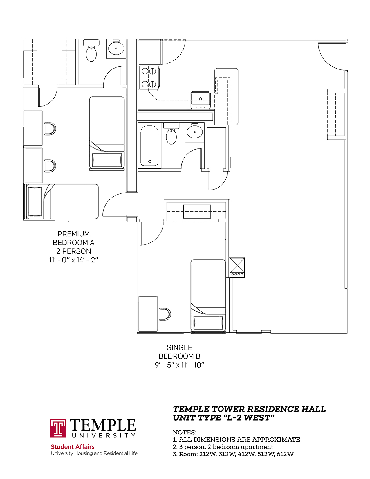 Temple Towers: Unit L2 West - 3 person, 2 bedroom Apartment