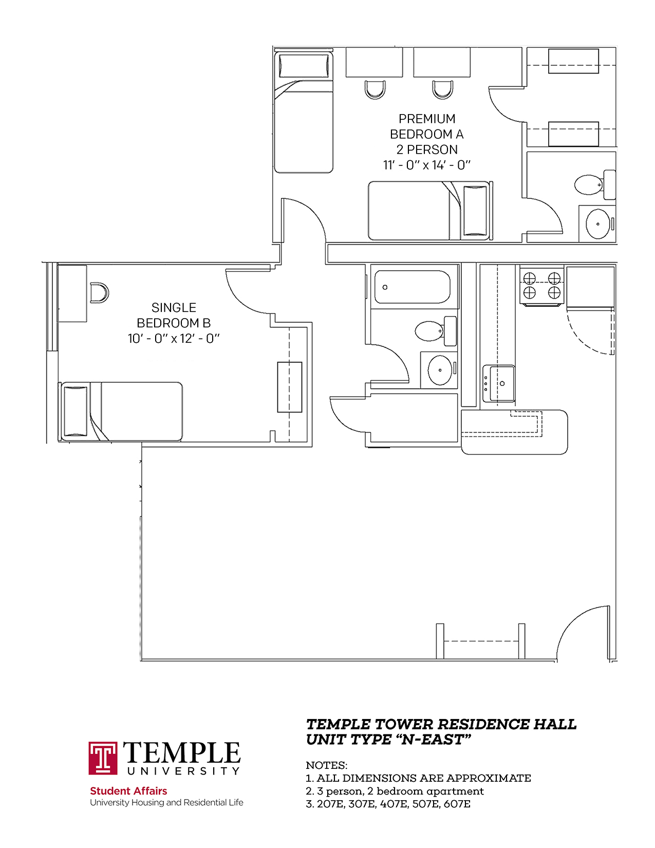 Temple Towers: Unit N East - 3 person, 2 bedroom Apartment