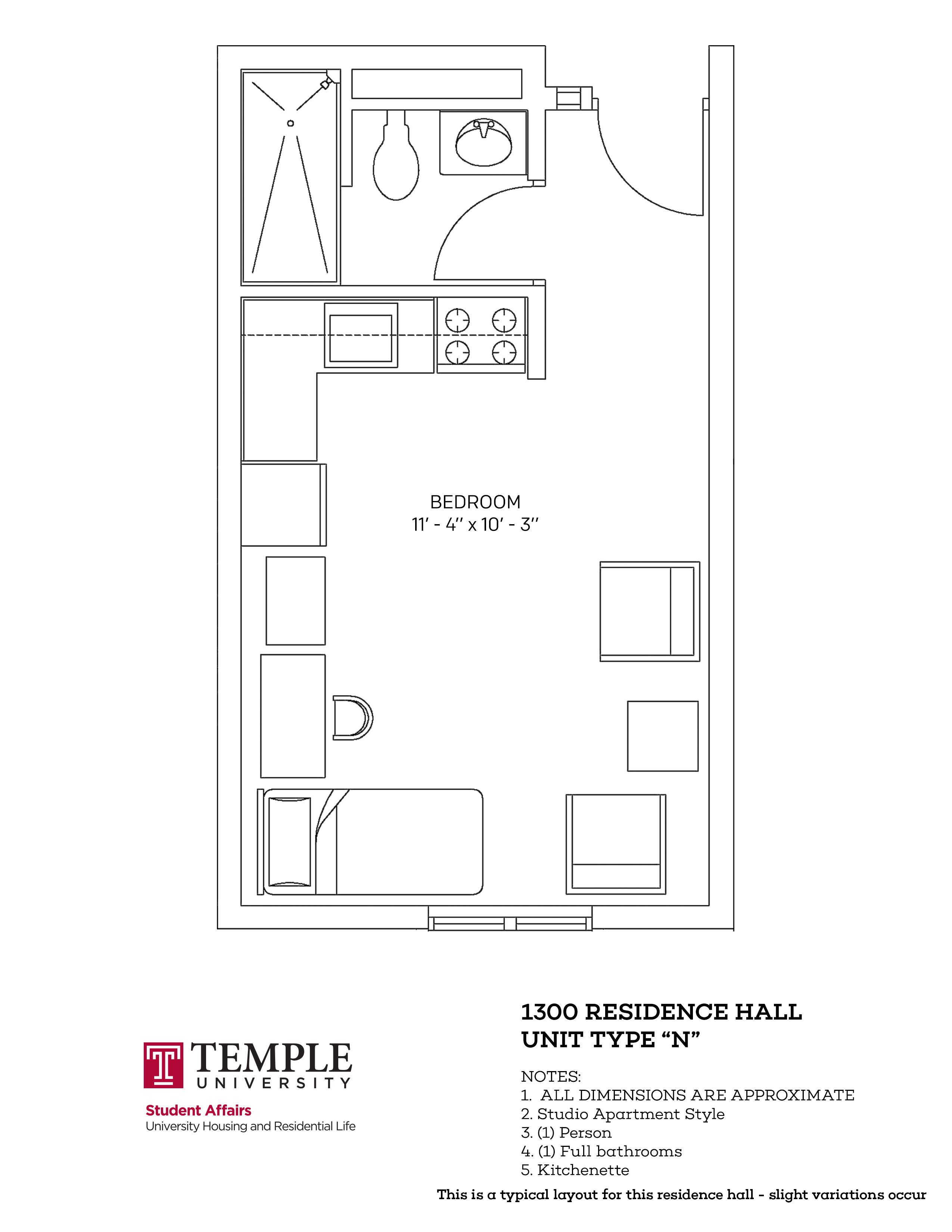 1300 Residence Hall: Type N